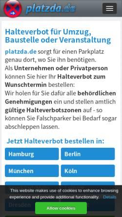 Vorschau der mobilen Webseite www.platzda.de, Platzda GmbH