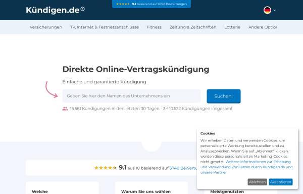Vorschau von www.xn--kndigen-n2a.de, Kündigen.de, GreenOnline BV.