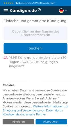 Vorschau der mobilen Webseite www.xn--kndigen-n2a.de, Kündigen.de, GreenOnline BV.