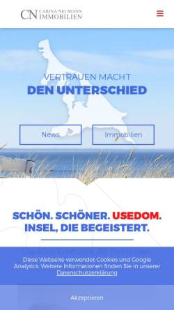 Vorschau der mobilen Webseite ostseeimmobilien-usedom.de, Immobilienmaklerin Carina Neumann