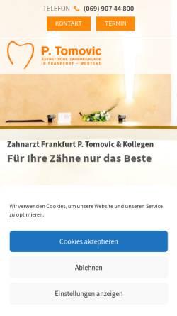 Vorschau der mobilen Webseite zahnarzt-frankfurt-tomovic.de, Zahnarzt P. Tomovic