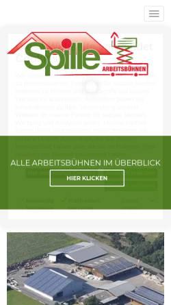Vorschau der mobilen Webseite www.spille-arbeitsbuehnen.de, Arbeitsbühnenvermietung - Walter Spille GmbH