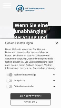 Vorschau der mobilen Webseite www.vmb-online.com, VMB Versicherungsmakler Markus Böttcher