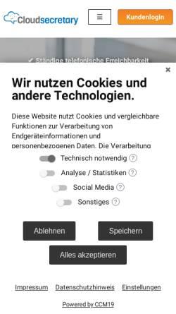 Vorschau der mobilen Webseite www.cloudsecretary.de, Cloudsecretary