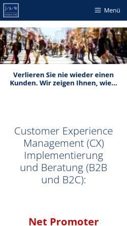 Vorschau der mobilen Webseite www.jswconsulting.de, j/s/w Consulting
