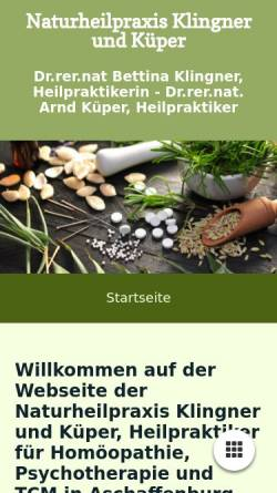 Vorschau der mobilen Webseite heilpraktiker-klingner-kueper.de, Naturheilpraxis Klingner und Küper