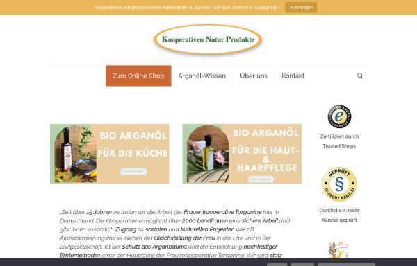 Vorschau von www.cooperativen-arganoel.de, Kooperativen Natur Produkte GbR