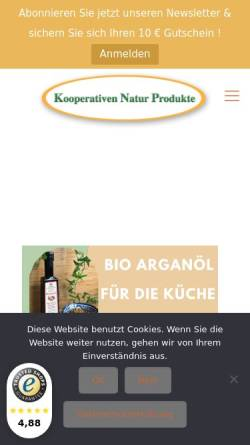 Vorschau der mobilen Webseite www.cooperativen-arganoel.de, Kooperativen Natur Produkte GbR
