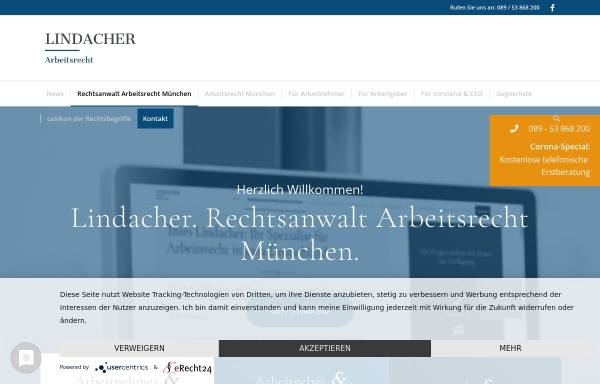 Vorschau von www.lindacher-arbeitsrecht.de, Lindacher Arbeitsrecht