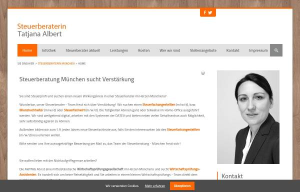 Vorschau von www.steuerberaterin-muenchen.com, Tatjana Albert, Steuerberaterin