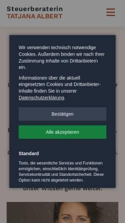 Vorschau der mobilen Webseite www.steuerberaterin-muenchen.com, Tatjana Albert, Steuerberaterin
