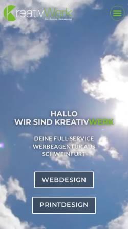 Vorschau der mobilen Webseite kreativwerk-sw.de, KreativWerk