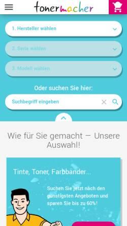 Vorschau der mobilen Webseite www.tonermacher.de, Tonermacher