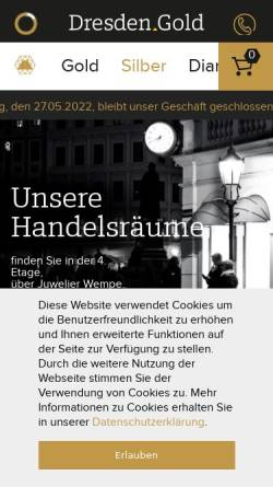 Vorschau der mobilen Webseite www.dresden.gold, Dresden.Gold GmbH