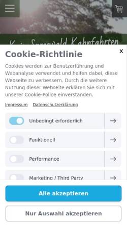 Vorschau der mobilen Webseite www.kaiskahn.de, Kais Spreewald Kahnfahrten