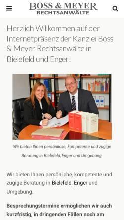 Vorschau der mobilen Webseite boss-meyer.de, Boss & Meyer Rechtsanwälte