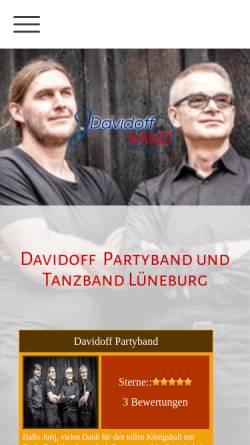 Vorschau der mobilen Webseite www.partyband-lueneburg.com, Davidoff Partyband und Tanzband