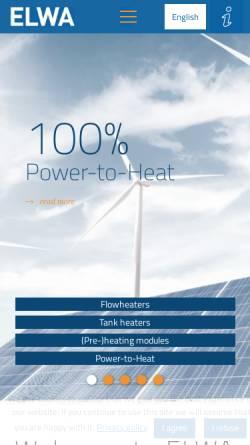 Vorschau der mobilen Webseite www.elwa.com, ELWA › systems for energy