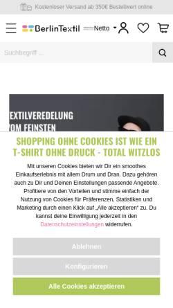 Vorschau der mobilen Webseite berlintextil.de, BerlinTextil GmbH