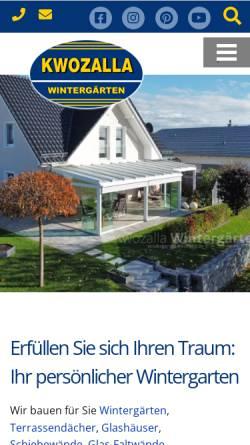 Vorschau der mobilen Webseite www.wintergarten-kwozalla.de, KWOZALLA Wintergärten