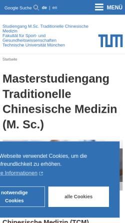 Vorschau der mobilen Webseite www.tcm.sg.tum.de, TCM Masterstudiengang TU München