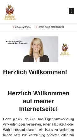 Vorschau der mobilen Webseite www.leifeld-immobilien.de, Leifeld Immobilien
