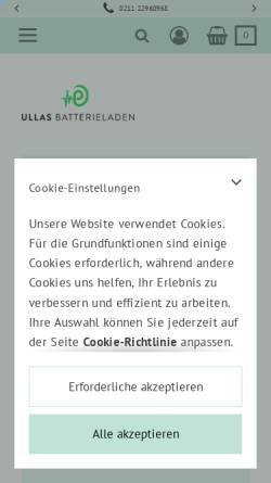 Vorschau der mobilen Webseite ullas-batterieladen.de, Ullas Batterieladen