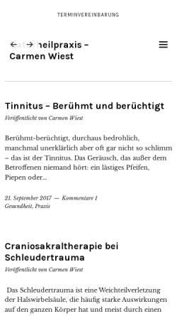 Vorschau der mobilen Webseite www.dornpraxis-rv.de, Naturheilpraxis Carmen Wiest