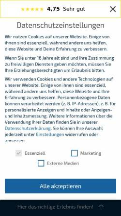 Vorschau der mobilen Webseite erlebnisfabrik.de, Erlebnisfabrik