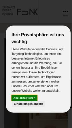 Vorschau der mobilen Webseite www.praxis-dr-funk.de, Zahnarztpraxis Doktor Funk