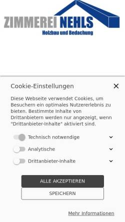 Vorschau der mobilen Webseite www.zimmerei-nehls.de, Zimmerei Nehls