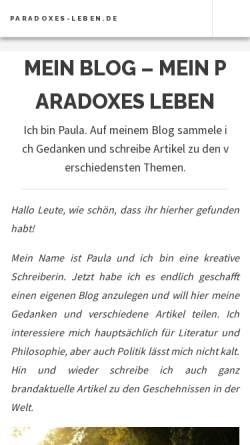 Vorschau der mobilen Webseite paradoxes-leben.de, Paradoxes Leben
