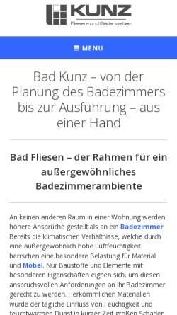 Vorschau der mobilen Webseite www.bad-kunz.de, Fliesen- und Bäderwelten Kunz