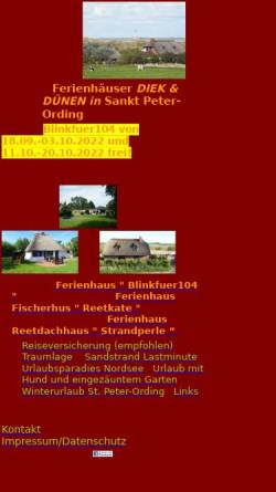 Vorschau der mobilen Webseite www.strandurlaub.net, Reetdachferienhaus Strandperle in St. Peter-Ording