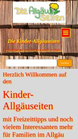 Vorschau der mobilen Webseite www.kinder.die-allgaeuseiten.de, Die Kinder-Allgäuseiten