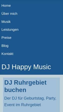 Vorschau der mobilen Webseite www.dj-happy-music.de, DJ Happy Music - Jürgen Knorre