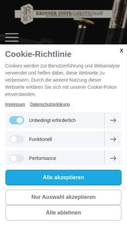 Vorschau der mobilen Webseite www.krinner-instrumentenbau.de, Krinner Instrumentenbau