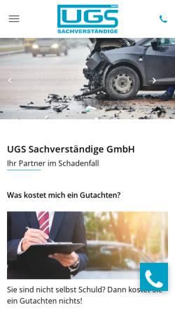 Vorschau der mobilen Webseite www.ugs-gutachten.de, UGS Sachverständige GmbH