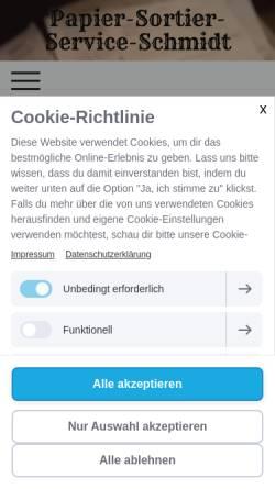 Vorschau der mobilen Webseite www.papier-sortier-service-schmidt.de, Papier-Sortier-Service-Schmidt