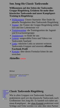 Vorschau der mobilen Webseite www.classic-tkd.saarland, Son Jong Ho Classic Taekwondo Saarbrücken