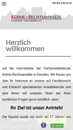 Vorschau der mobilen Webseite www.kuehne-rechtsanwaelte.de, KÜHNE Rechtsanwälte / Fachanwälte