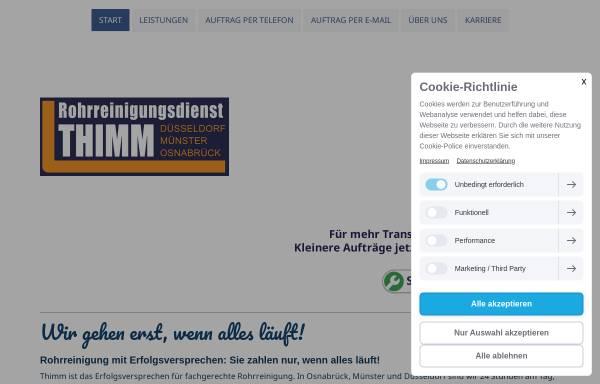 Vorschau von www.rohrreinigung-thimm.de, Rohrreinigungsdienst Thimm OHG