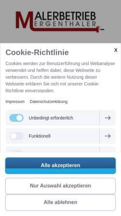 Vorschau der mobilen Webseite www.maler-mergenthaler.de, Malerbetrieb & Stuckateurbetrieb Mergenthaler