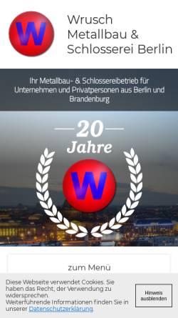 Vorschau der mobilen Webseite www.wrusch-metallbau.de, Wrusch Metallbau & Bauschlosserei