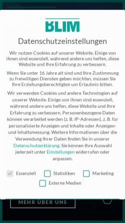 Vorschau der mobilen Webseite blim.de, BLIM GmbH