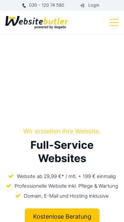Vorschau der mobilen Webseite www.websitebutler.de, Websitebutler GmbH