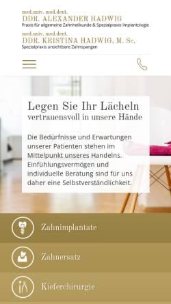 Vorschau der mobilen Webseite www.zahnarzt1090wien.at, DDr. Alexander Hadwig