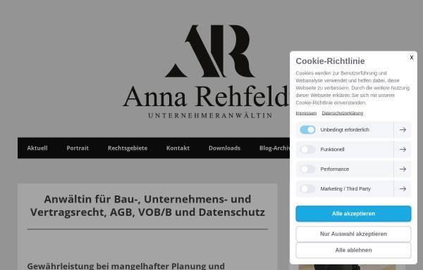 Vorschau von www.ra-rehfeldt.de, Rechtsanwältin Anna Rehfeldt