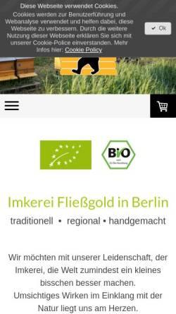 Vorschau der mobilen Webseite www.fliessgold.de, Imkerei Fließgold