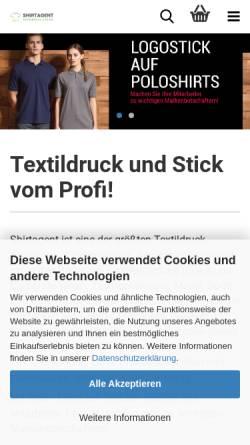 Vorschau der mobilen Webseite www.shirtagent.de, Shirtagent - Textildruck & Stick